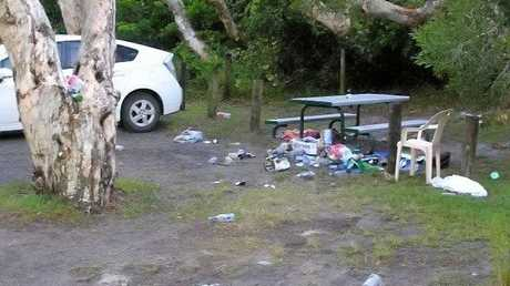 Some of the rubbish left behind at Lake Ainsworth after Australia Day.