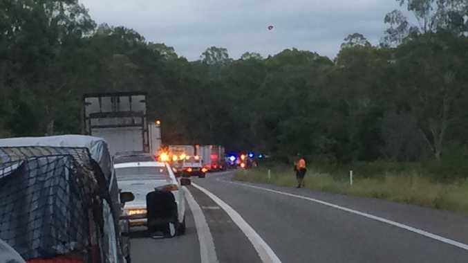 Traffic backs up on the Bruce Hwy following an accident at Chatsworth.