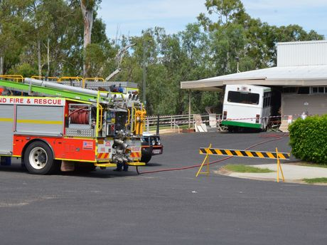 The bus at rest after crashing into the cultural centre.