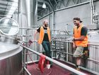 BEST BEER: Stone & Wood head brewer Caolan Vaughn brewing Pacific Ale with Zach Wright at the Murwillumbah Brewery.