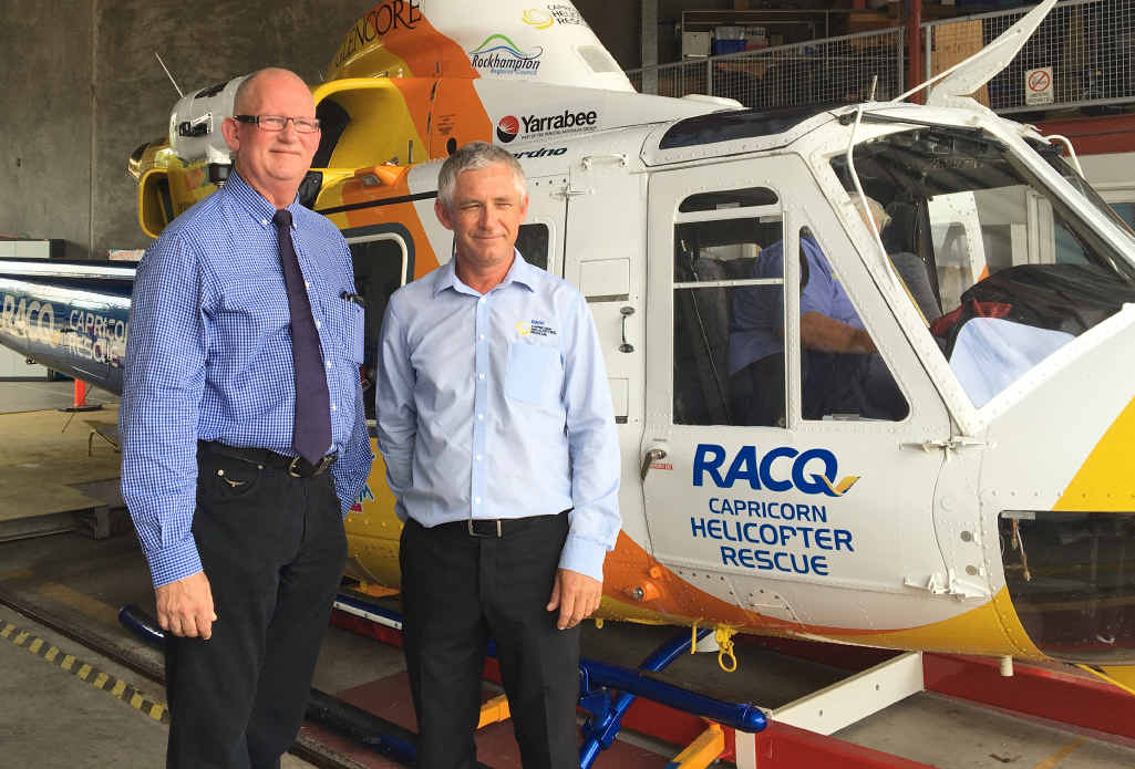 VITAL FUNDING: Member for Rockhampton Bill Byrne has also announced vital State Funding for the RACQ Capricorn Helicopter Rescue Service to allow the service to build a new state-of-the-art hangar in 2016. Mr Byrne is pictured with Capricorn Helicopter Rescue Service CEO Mark Fewtrell.