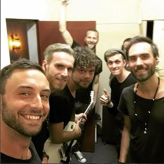 EUROVISION 2015 winner, Sweden's Måns Zelmerlöw, and his band backstage at the Saraton waiting to go on as surprise guest support.