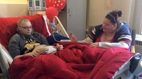 Skylar Fish and his mother Sarah Fish in hospital Facebook