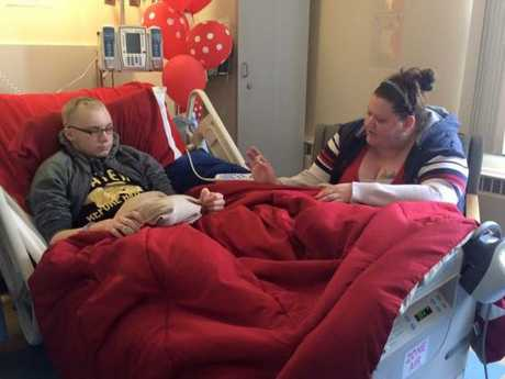 Skylar Fish and his mother Sarah Fish in hospital Facebook