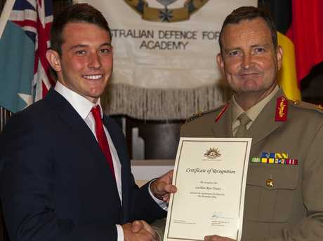 Toowoomba's Lachlan Tracey is welcomed to the Australian Defence Force by Commander First Division, General Major Paul McLachlan.