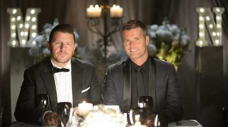 Manu Feildel and Pete Evans in a scene from season seven of My Kitchen Rules.
