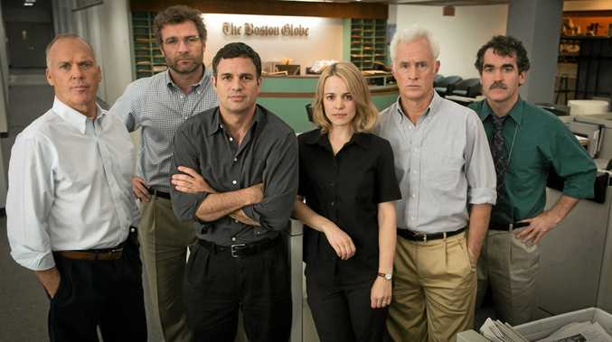 TEAM: From left, Michael Keaton, Liev Schreiber, Mark Ruffalo, Rachel McAdams, John Slattery and Brian d'Arcy James pictured on the set of the movie Spotlight.