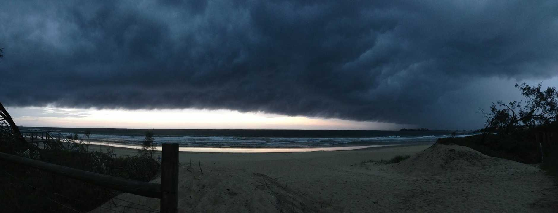 Mother Nature is angry. Alex Beach. Quick pano on phone before it started pouring