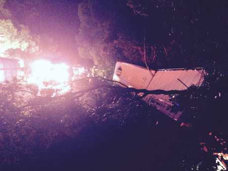 A truck involved in a crash on the Bruce Highway.