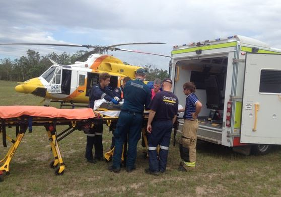 A young man was airlifted by RACQ CareFlight from the scene of a serious traffic crash near Dalby on the Darling Downs.