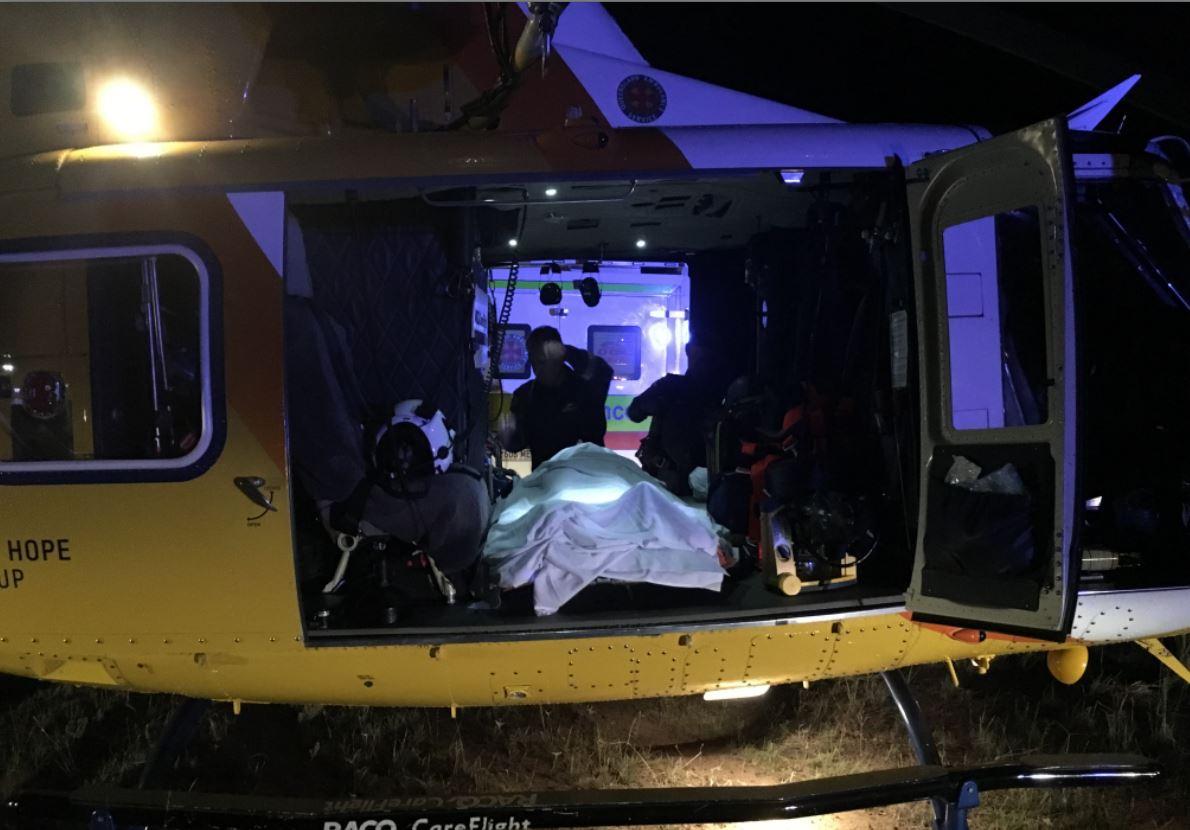RACQ Careflight airlifted a teen girl from Kogan who was run over by a ute. PHOTO: RACQ Careflight.