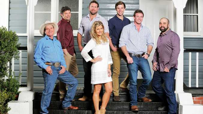 The Farmer Wants A Wife host Sam McClymont, centre, pictured with farmers, from left, Lance, Jedd, Lachie, Adam, Matt and Julz.