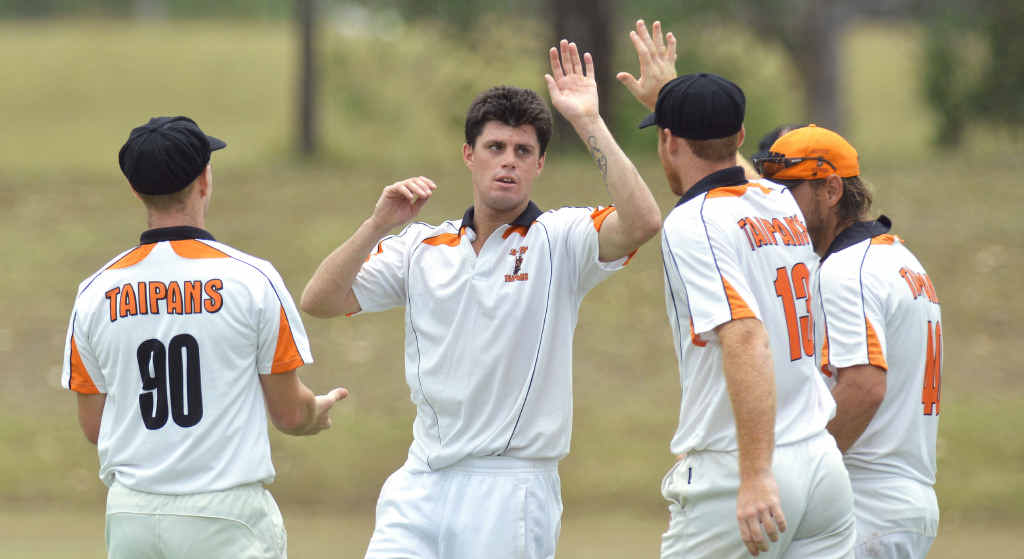 PLENTY OF BITE: Eastern Taipans bowler Vaughan Oldham picked up a five wicket haul against the Thunder on Saturday, and (below right) Anthony Fowler claimed three wickets for Swifts against Brothers.