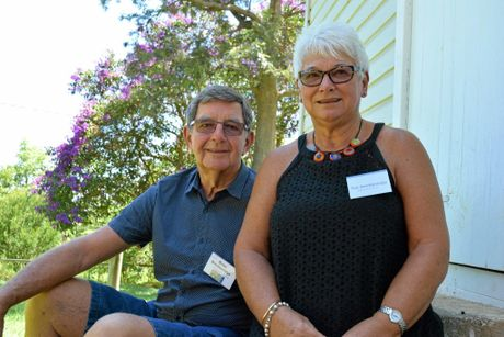 TUMBULGUM: Part of the team working on a production for the Tumbulgum Hall as part of the If These Halls Could Talk project. Pictured is Sue and Brian Breckenridge from the Tumbulgum Community Association.