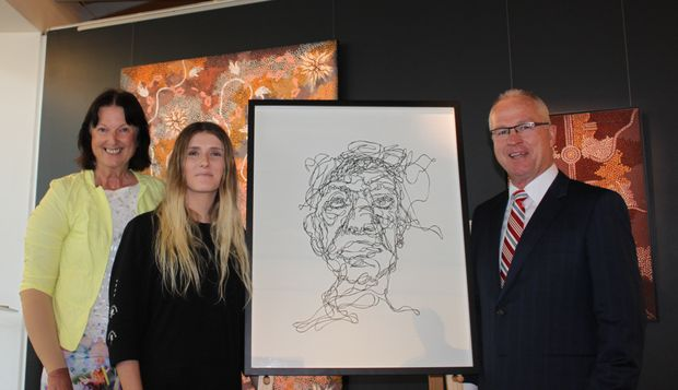 Cr Jenny McKay, Sunshine Coast Art Prize 2015 Highly Commended artist Jamie Rochester, Mayor Mark Jamieson. 