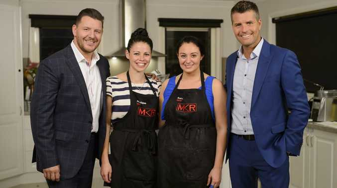 My Kitchen Rules hosts Manu Feildel, left, and Pete Evans, right, pictured with contestants Monique and Sarah.