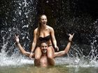 Escaping the heat in Buderim. French vistitors Noriane Naya and Jon Sorozadal cool off under the Buderim Forest Park waterfall. Photo: Che Chapman / Sunshine Coast Daily