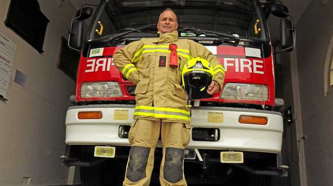 TOWER OF STRENGTH: Retained firefighter Colin Bennett farewells the Casino brigade.