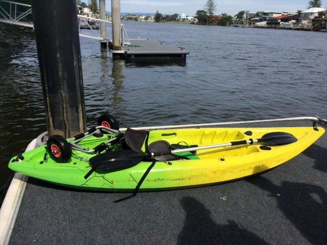 The man entered the water at Broadbeach with this kayak, which was later found floating upside down.