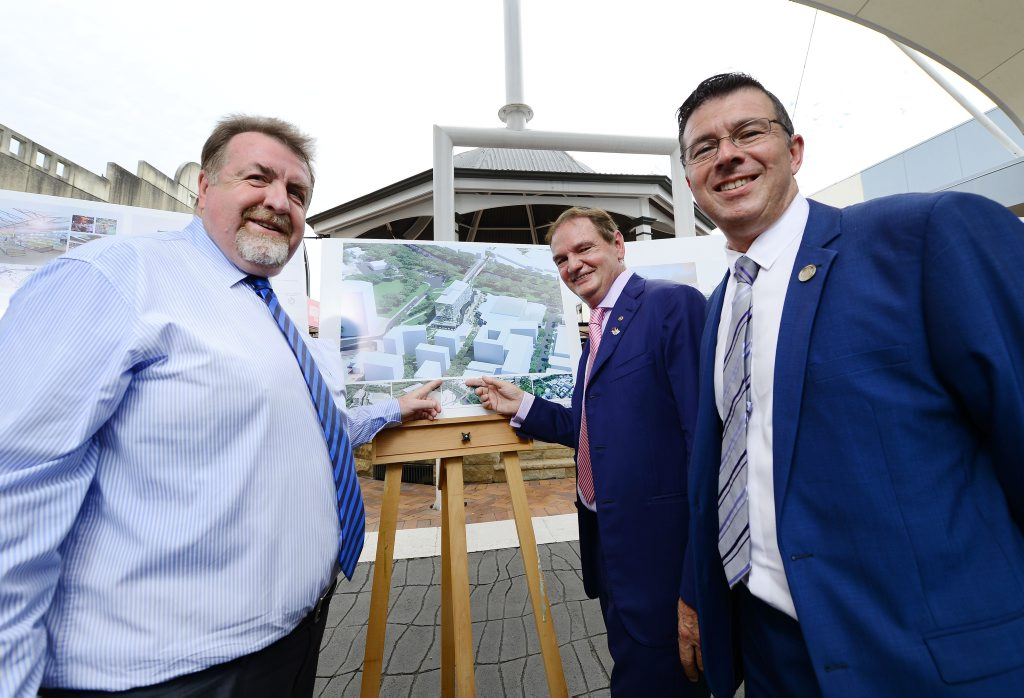 Ipswich City Councillors Paul Tully, Mayor Paul Pisasale and Andrew Antoniolli announces the next stage of the CBD redevelopment. Photo: David Nielsen / The Queensland Times