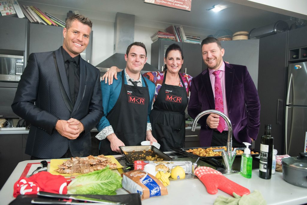 Cheryl and Matt pictured with judges Pete Evans, left, and Manu Feilde in Brisbane.