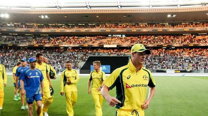 The Australians leave the field after suffering their second most heaviest defeat. Photo: AAP Images.