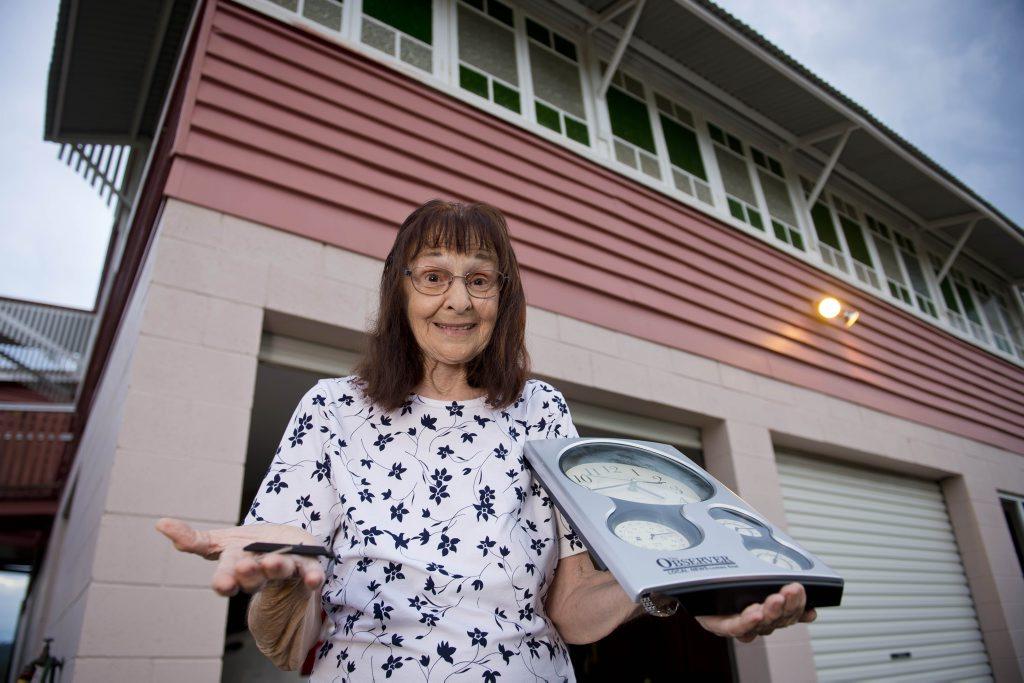 Dulcie Anne Benn was frightened as a terrifying thunderstorm struck her home in Beecher yesterday.Photo Paul Braven / The Observer