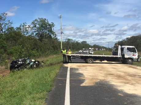 The car involved in the Bruce Highway crash near Pig Creek that has caused highway closure.