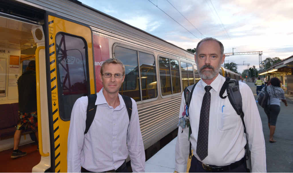 ON THE RIGHT TRACK: Sunshine Coast commuters Kieron Wallace (left) and Jeff Addison want to see rail duplication delivered for the Coast sooner rather than later.