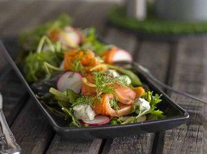 Smoked salmon, pea and radish salad inspired by MKR