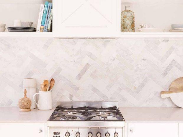 A Marble Herringbone Tile Kitchen Splashback From The 2017 Reno Rumble Series