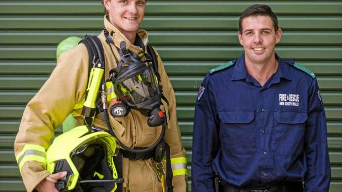 New retained firefighters at Grafton station Andrew Bannister and Matthew Pennell.