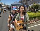Busking at Margaret Street Markets are Sarah Lamshed (left) and Rhianna McKechnie, Sunday, December 6, 2015. Photo Kevin Farmer / The Chronicle