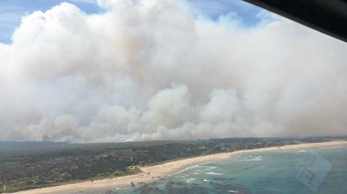 An aerial view of the Wuthering fire on the north west coast of Tasmania taken by Northern River Rural Fire Service superintendent Boyd Townsend last week. Photo: Boyd Townsend
