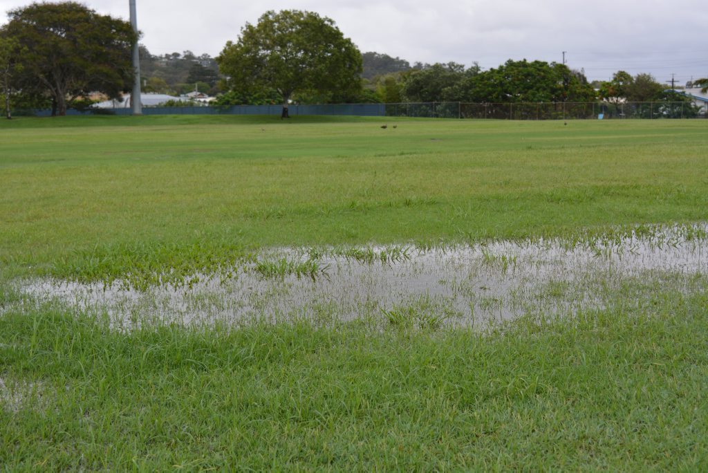 RICE PADDY: Heavy rain has turned Yaralla Oval into a saturated playing field that has caused cricket to be washed out in Gladstone this weekend. Photo Nick Kossatch / Observer