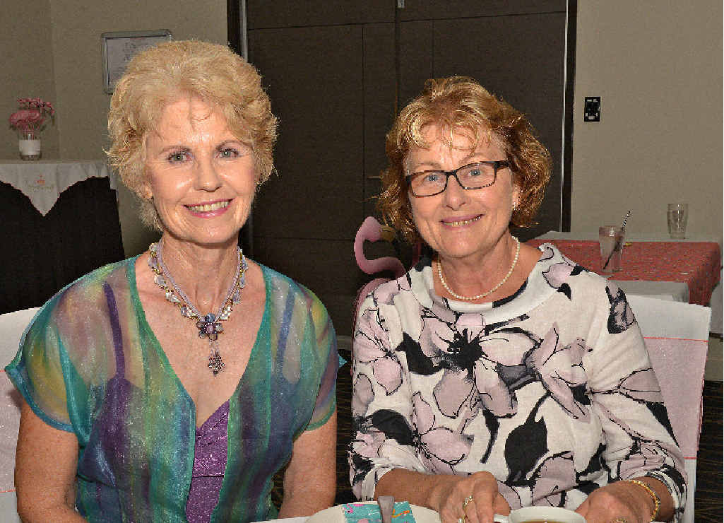 ELEGANT AFTERNOON: Denise Melville and Christine Francis enjoy a cuppa at The Waves Club High Tea for Fiona Ward.