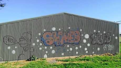 Graffiti on the shed of the Tintenbar-East Ballina Cricket Club.