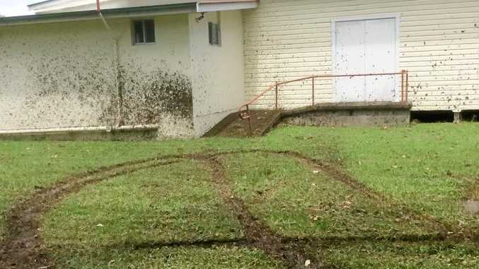 The chopped up grass and mud-splattered walls of Bentley Hall.