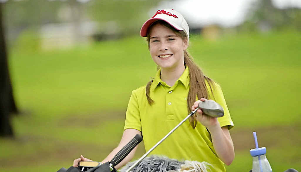 Katarina Perkins, 13, is all smiles after her win yesterday.