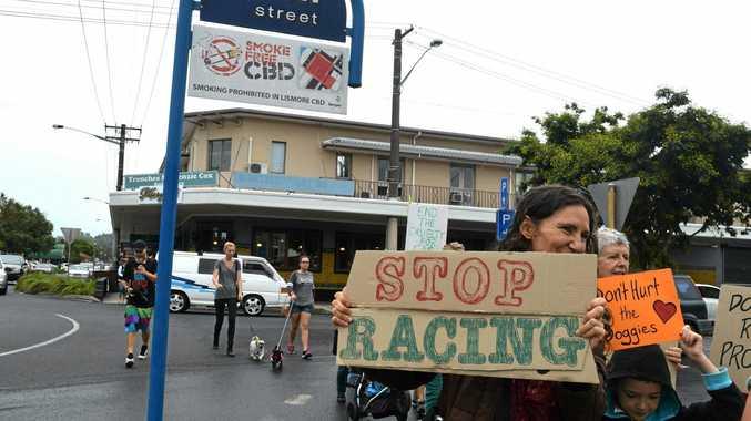 SHUT IT DOWN: Greyhound racing industry protesters gathered at Lismore Park on the corner of Dawson and Uralba Sts.