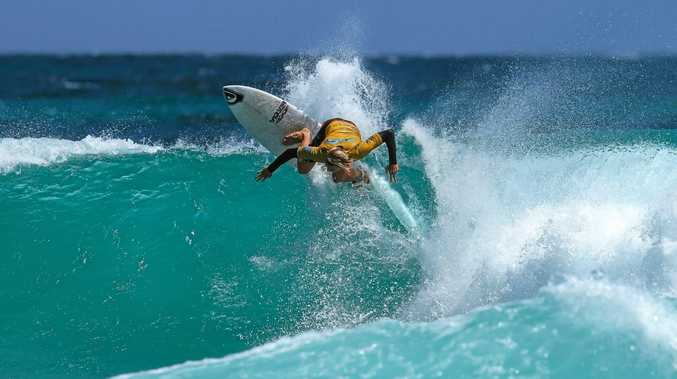 BUSY LAD: Lennox Head surfer Zac Wightman competing in the Subway Surf Series.