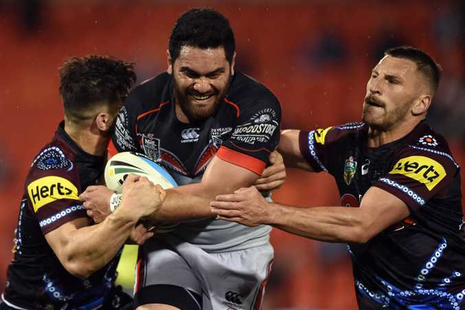 Konrad Hurrell in action for the Warriors. Photo: AAP Image
