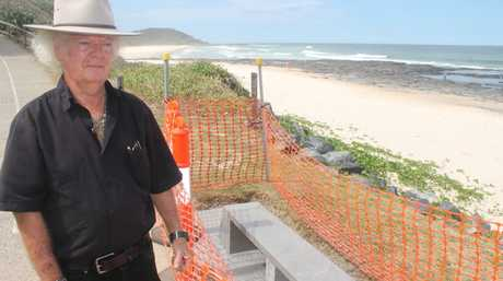 TRIBUTE: Ballina's mayor, Cr David Wright, has funded and organised for this bench built at Shelly Beach in honour of shark attack victim Tadashi Nakahara and those involved with his attempted rescue.Photo Graham Broadhead / Ballina Shire Advocate