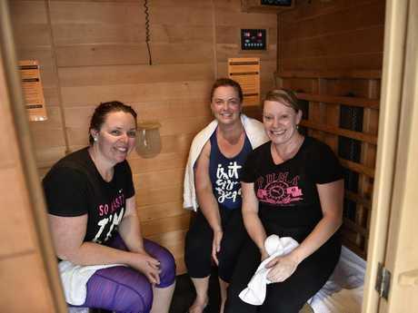 DETOX ROOM: Enjoying the experience are (from left) Helen Johnson, Lauren Stuart and Cass Keighran.