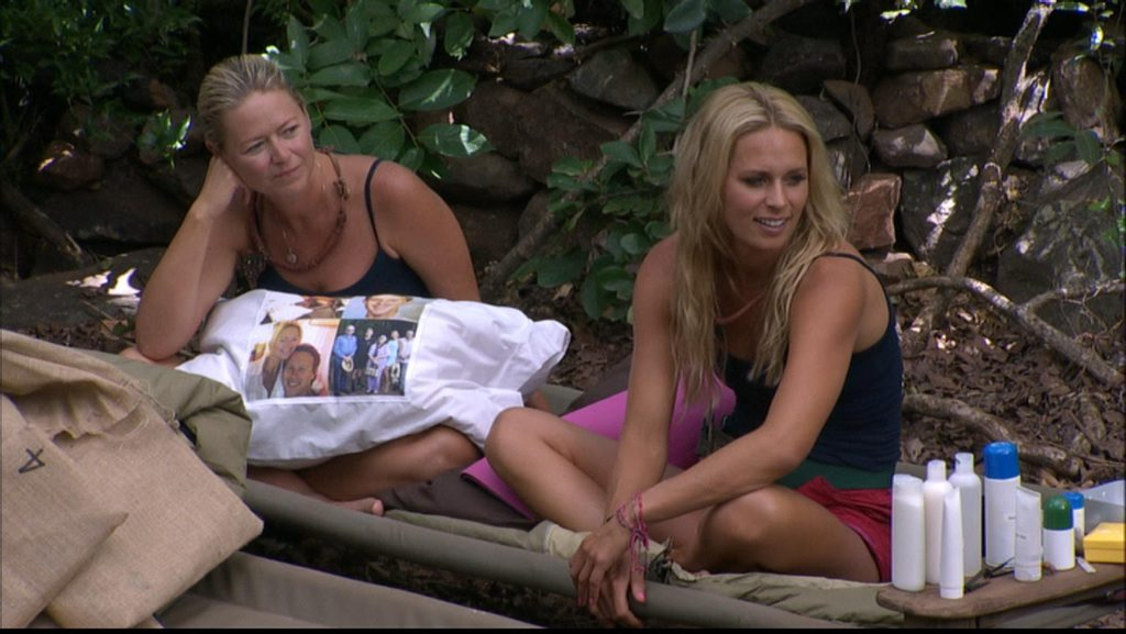 Jo Beth Taylor and Courtney Hancock pictured in camp on the TV series I'm A Celebrity... Get Me Out of Here!