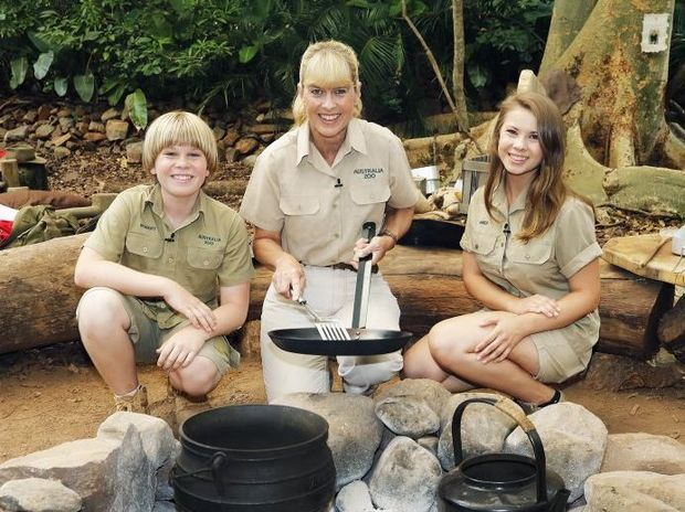 Robert, Terri and Bindi Irwin at the I'm A Celebrity... Get Me Out of Here! jungle camp.