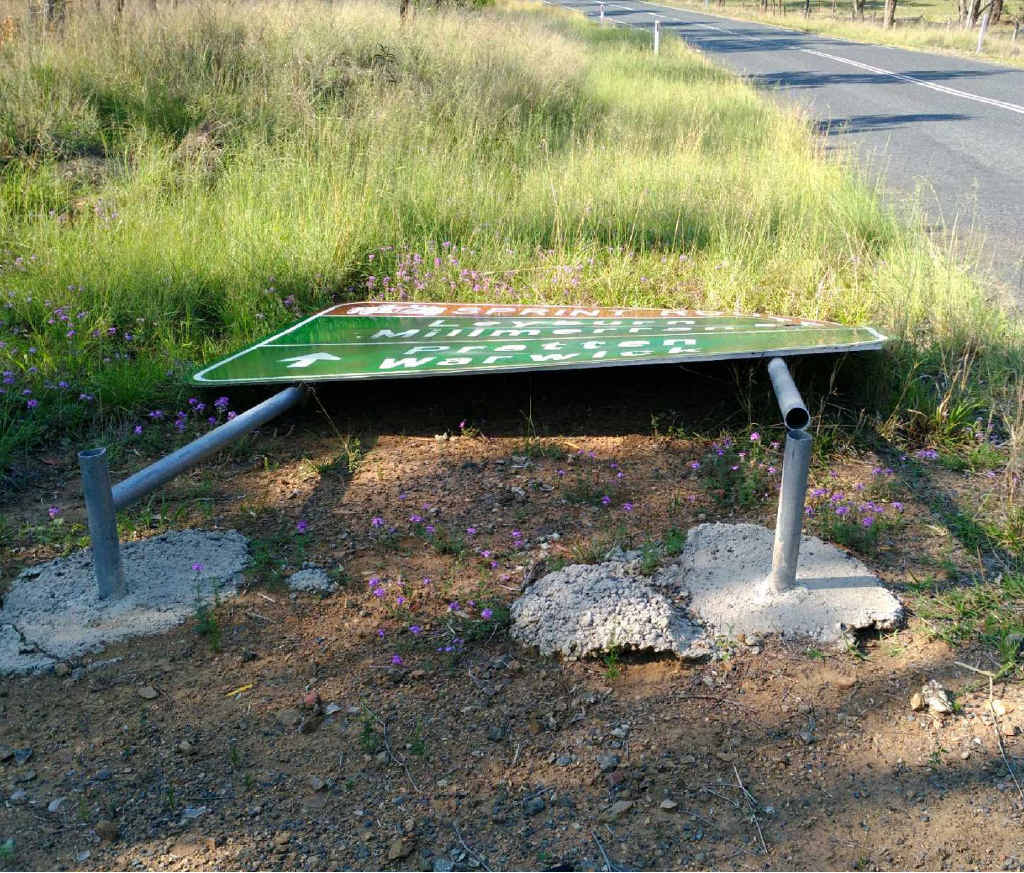 SENSELESS: This sign on the Leyburn-Cunningham Rd near Pratten is among nine sets of signs damaged by senseless vandalism in the past week on the Southern Downs.