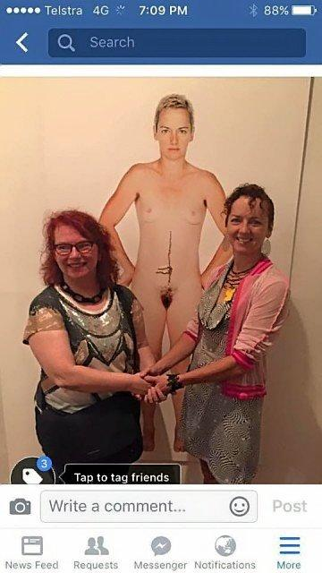 The photo of artist Deborah Kelly and her subject Simone O'Brien standing in front of Deborah's work, was taken at the opening of an exhibition at the Lismore Gallery.