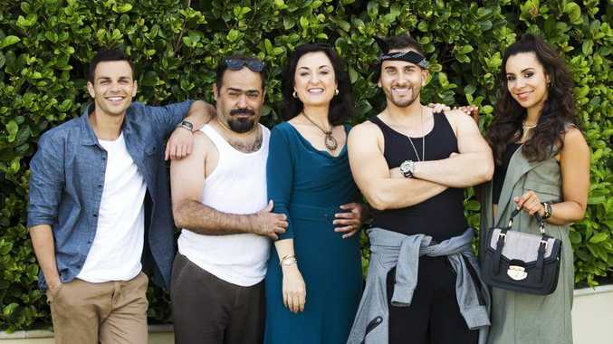 Tyler De Nawi, Michael Denkha, Camilla Ah Kin, Sam Alhaje and Kat Hoyos star in the TV series Here Come The Habibs.