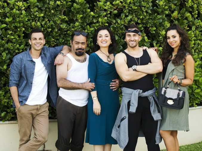Tyler De Nawi, Michael Denkha, Camilla Ah Kin, Sam Alhaje and Kat Hoyos star in the TV series Here Come The Habibs.